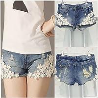 Distinct® Summer Lace Floral Beading Mujer Pantalones Cortos