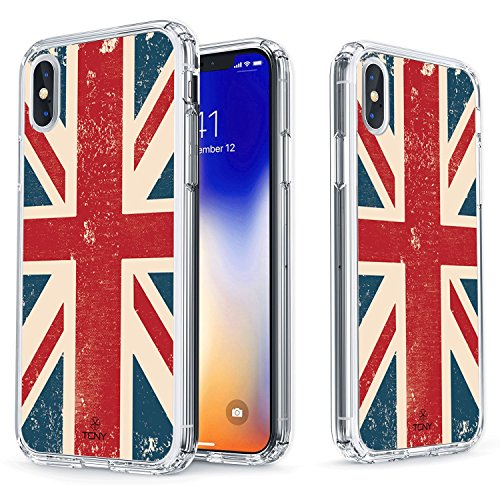 British Shield - True Color Case for iPhone Xs, iPhone X Case - Clear Shield Vintage British UK Flag Printed on Clear Back - Soft and Hard Thin Shock Absorbing Dustproof Full Protection Bumper Cover
