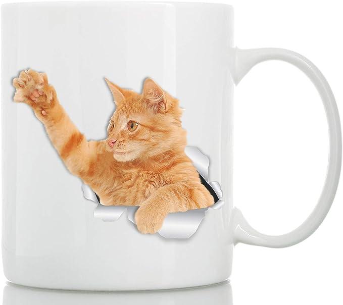 Taza de Cafe Gato Atigrado Anaranjado Jugando - Ideal para Regalos Divertidos y Personalizados de Cumpleaños - Tazas Originales Baratas para Desayuno y Merienda: Amazon.es: Hogar