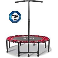 ISE Fitness Trampolin, faltbar Indoortrampoline mit höhenverstellbarer Haltegriff, Ausdauertraining für Erwachsene & Kinder TÜV-Geprüft