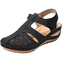 Duseedik Women's Hollow Out Sandals Ladies Large Size Comfortable Ankle Round Toe Soft Sole Shoes