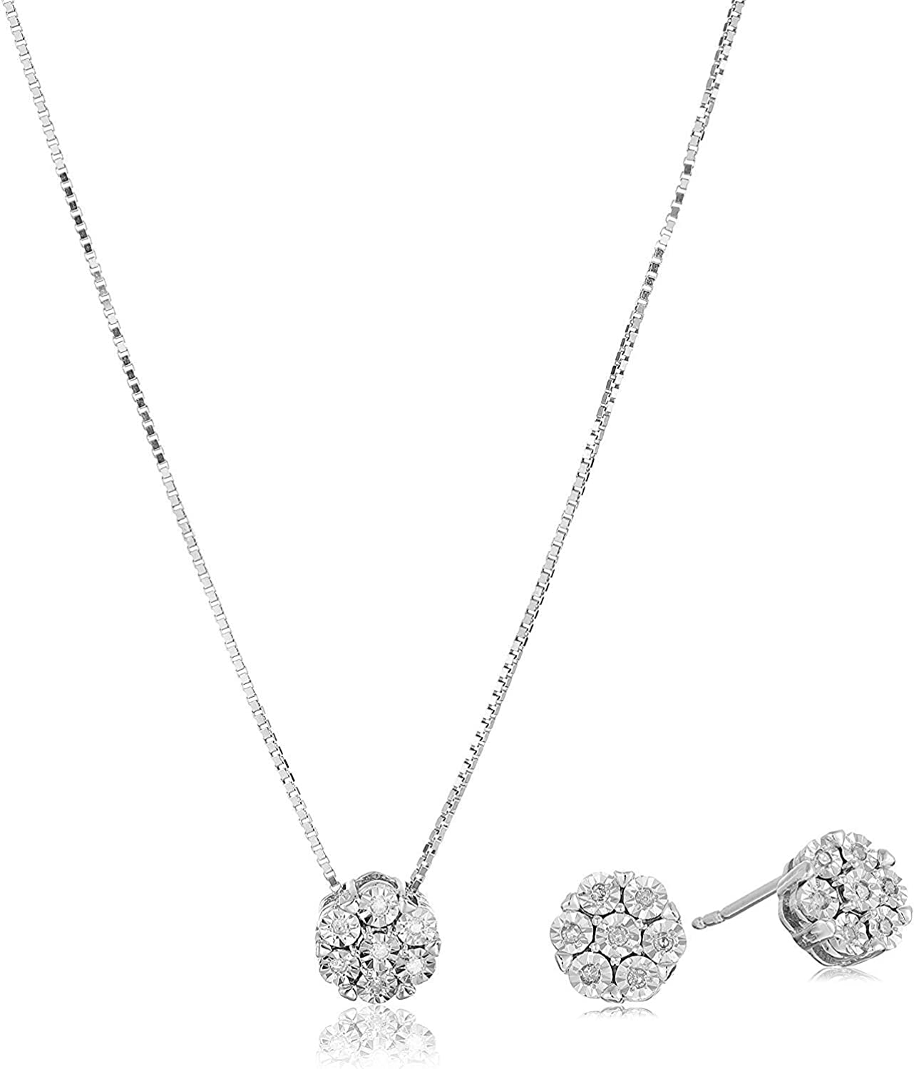 ".925 Sterling Silver 1/10 Cttw Diamond Miracle-Plate 18"" Pendant Necklace and Stud Earrings Jewelry Set - Choice of Metal Colors"