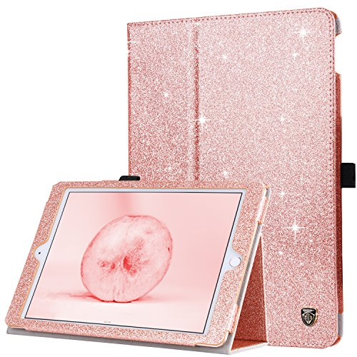 BENTOBEN iPad 6th Generation Case, iPad 5th Gen Case, Slim Folio Folding Stand Auto Wake/Sleep with Pencil Holder PU Leather Case Cover for 9.7 Inch iPad 2018/2017 & Air 1/Air 2 Rose Gold Glitter
