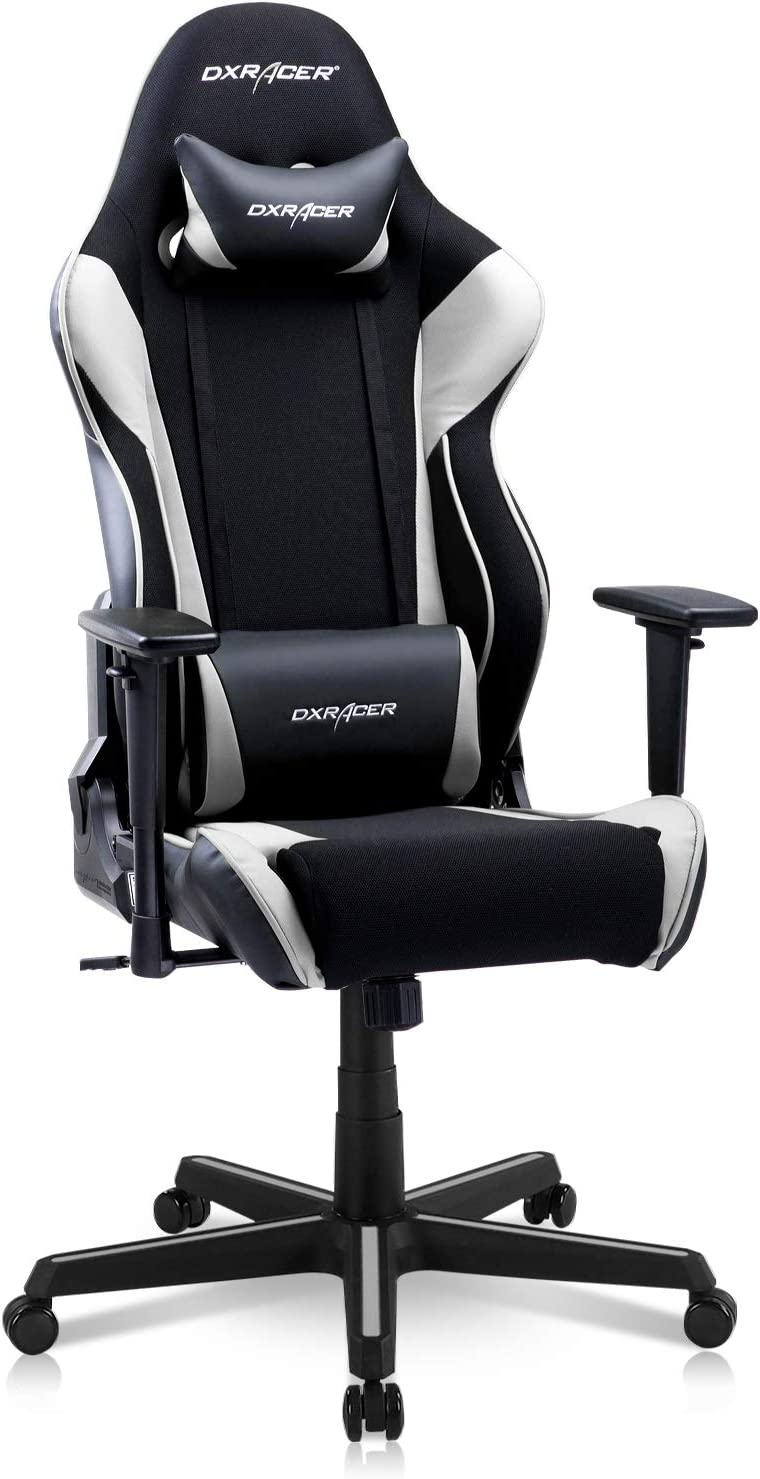 DXRacer Racing Series Gaming Ergonomic Home Office Comfortable Desk Back Computer Chair | Height Swivel, 3D armrest, Strong Mesh and PU Leather, Standard, Black & White