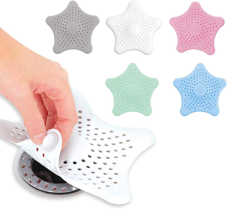 JIAHU Drain Hair Catcher Sink Strainer Silicone Covers Protector Bathroom 6 Pack Starfish 6