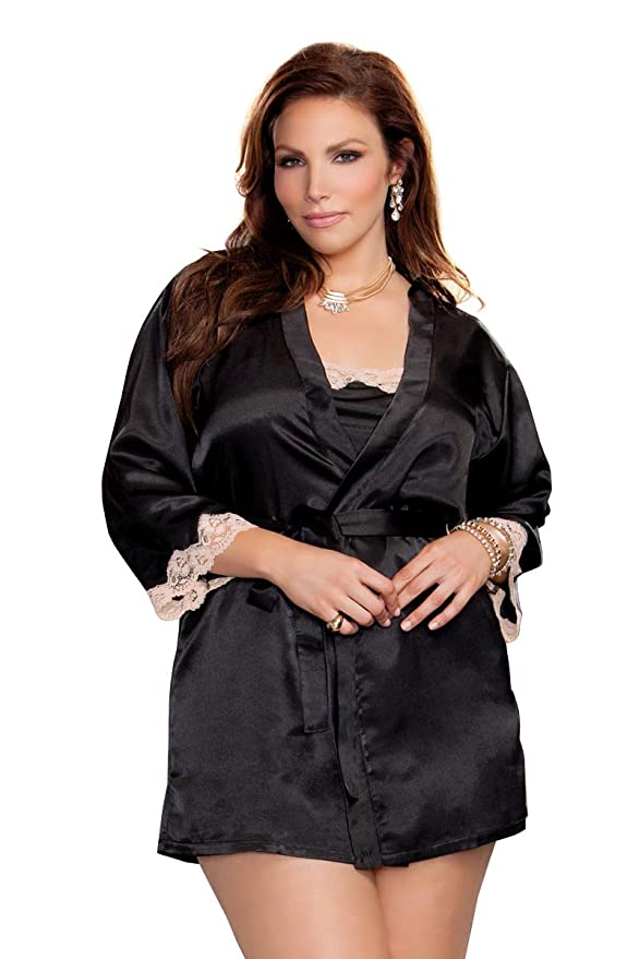 b3af4b8f6df Amazon.com  iCollection Women s Plus Size 3 4 Sleeve Satin Robe with Lace  Cuffs  Clothing