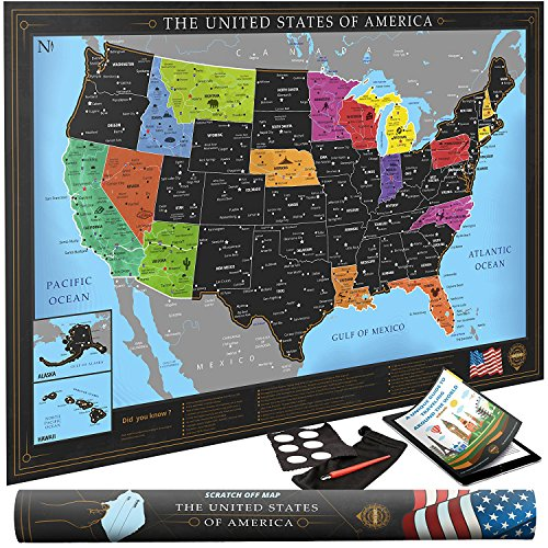 Premium Scratch Off Usa Map   Black Personalized Wall Map Poster   Deluxe Gift For Travelers   Travel Tracking   Bonus Adhesive Stickers   Scratching Tool   Wiping Cloth   Traveling Ebook