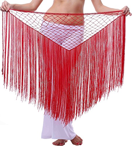 Long Net Belly Dance Hip Scarf with Fringes Red XS S M L XL