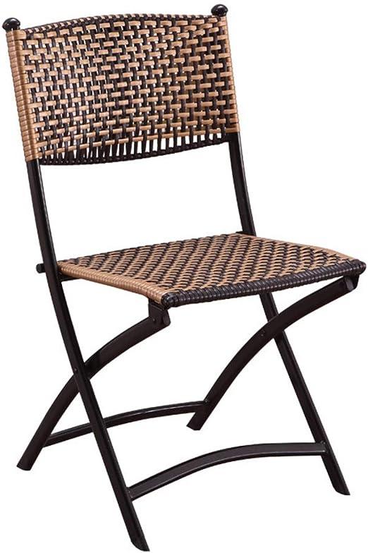 DGSFES - Silla Plegable de Mimbre de Aluminio para jardín, Playa, terraza, Invernadero, polígono, Natural: Amazon.es: Hogar
