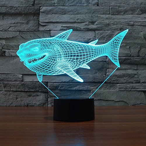 Comics+3D+Night+Lamp+ Products : Shark 7 Colors Desk Table Lamp Acrylic 3D Led Night Light Touch Switch Usb
