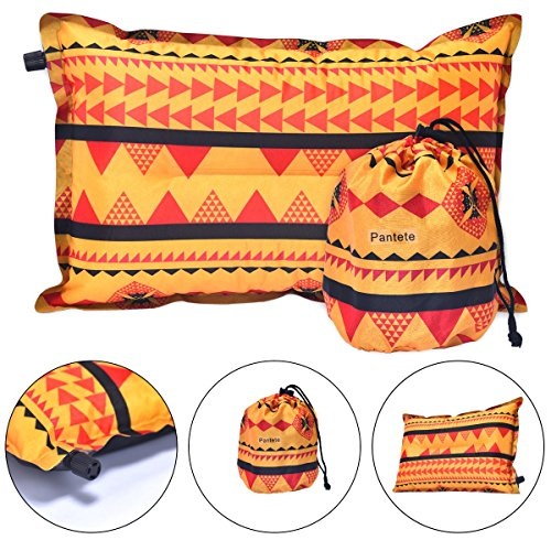 Backpacking Camping Pillow Self Inflating Travel Pillow with Ultralight Memory Foam Portable for Camping, Traveling, Hiking, Office Leisure Rest, Neck & Lumbar Support, Beach, Compressible