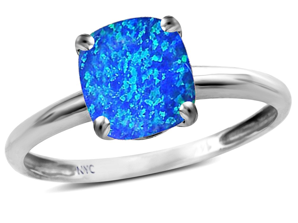 Star K Blue Created Opal 7mm Cushion Cut Solitaire Engagement Ring 10 kt White Gold Size 5