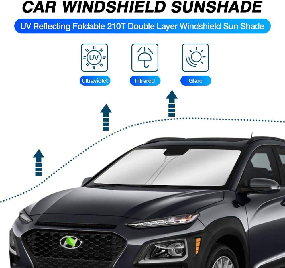 KUST Windshield Sun Shade for Hyundai Kona 2018 2019 2020 2021 Sunshade Foldable Sun Visor Protector Blocks UV Rays Keep Your Car Cooler