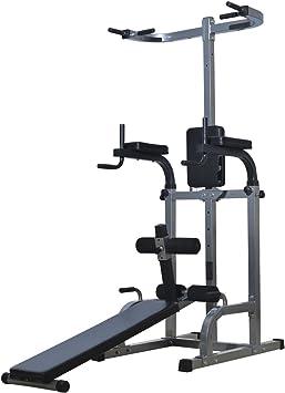 Soozier 80 Full Body Power Tower Gimnasio en casa Fitness estación w/Ajustable Banco de Pesas: Amazon.es: Deportes y aire libre
