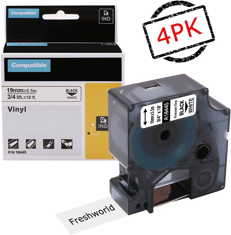 """2PK 18445 Black on White IND Vinyl Label 3//4/"""" for DYMO RHINO 4200 5200 6000"""