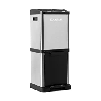 Klarstein Ökosystem² Cubo de Basura de Reciclaje (Capacidad 45L, 3 x 15 litros, Carcasa de Acero Inoxidable, Mecanismo Pedal, contenedor de 3 Piezas): ...