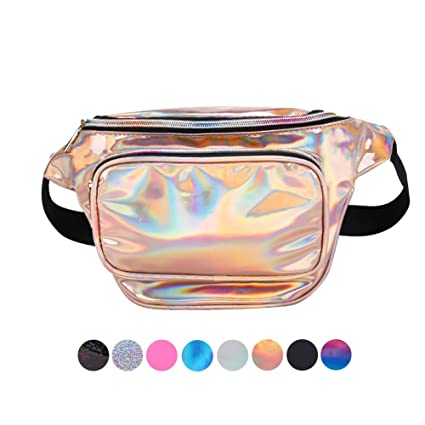 c358927a7c3c Fashion Holographic Fanny Pack for Women Men-Waterproof Travel Waist Packs  Bum Purse Bags for Rave,Festival,Hiking