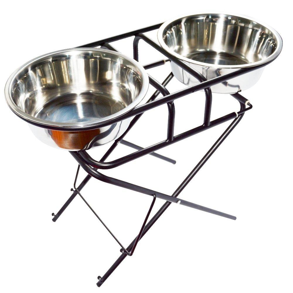 EXPAWLORER Stainless Steel Elevated Dog Bowl and Stand Set, Multi-Level Adjustable Raised Pet Feeder