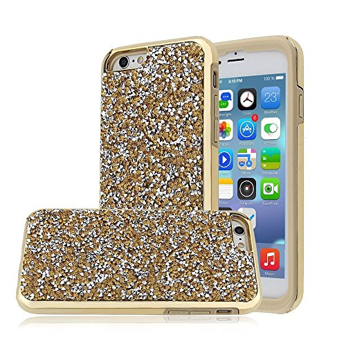 iPhone 7 Plus Case, Heavy Duty Shockproof Rhinestone Shell Cover, Sparkly Bling Diamond [Anti-Discoloration, Durable TPU Rubber] Twinkling Stylish Design with Shiny Glitter (Gold) Design Bling
