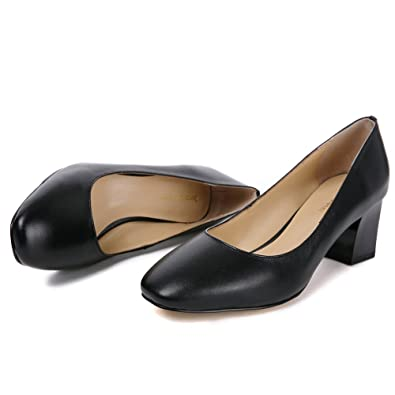 88a758aeef Darco & Gianni Women's Square Closed Toe Chunky Block Mid Heel Pump Black  Patent Office Work