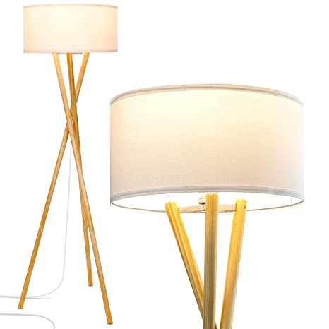 Brightech Harper LED Tripod Floor Lamp U2013 Wood, Mid Century Modern Light For  Contemporary Living