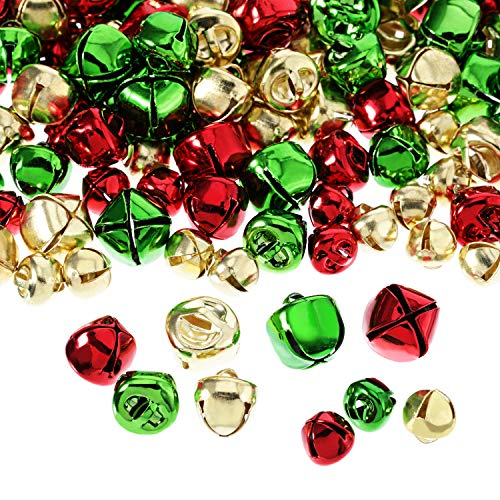 - Pangda 288 Pieces Christmas Jingle Bells Colored Small Craft Bells Bulk Loose Beads for Craft Kits and Christmas Supplies (3 Sizes and Colors)