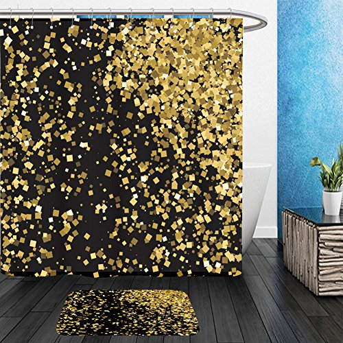 Vanfan Bathroom 2 Suits 1 Shower Curtains & 1 Floor Mats gold glitter texture isolated on black amber particles color celebratory background golden 587681915 From Bath - Gold Wikipedia