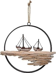 Hanging Wooden Boat Wall Art Ornament, Rustic Wooden Decorative Boat Circle Ocean Carving Wall Sculpture, Wooden Boat Sign Nautical Ocean Beach Coastal Themed Home Decor-10.34