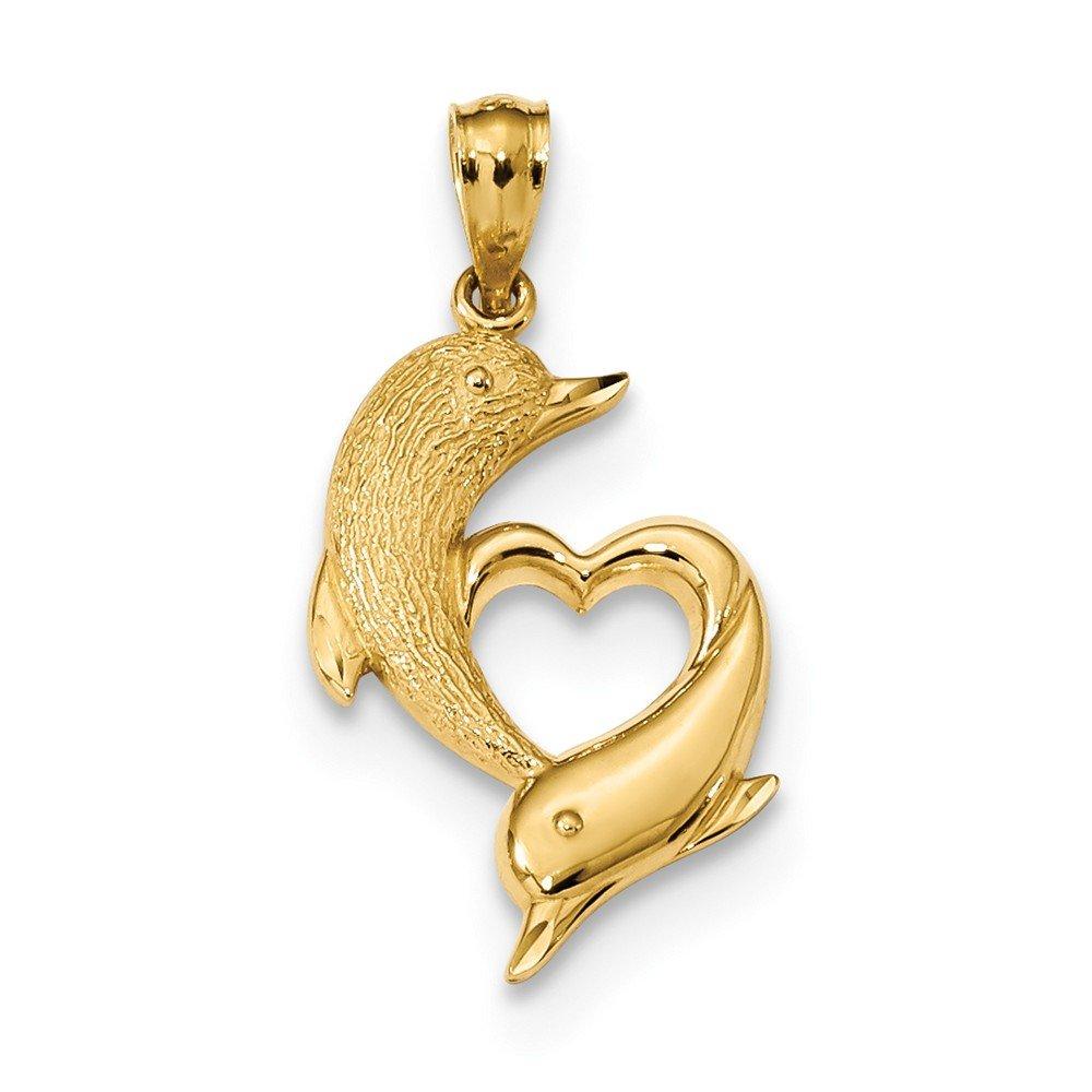 13,5mm 14Karat diamantiert Satin und Poliert Delphine Anhänger Herz JewelryWeb QTP328770NC
