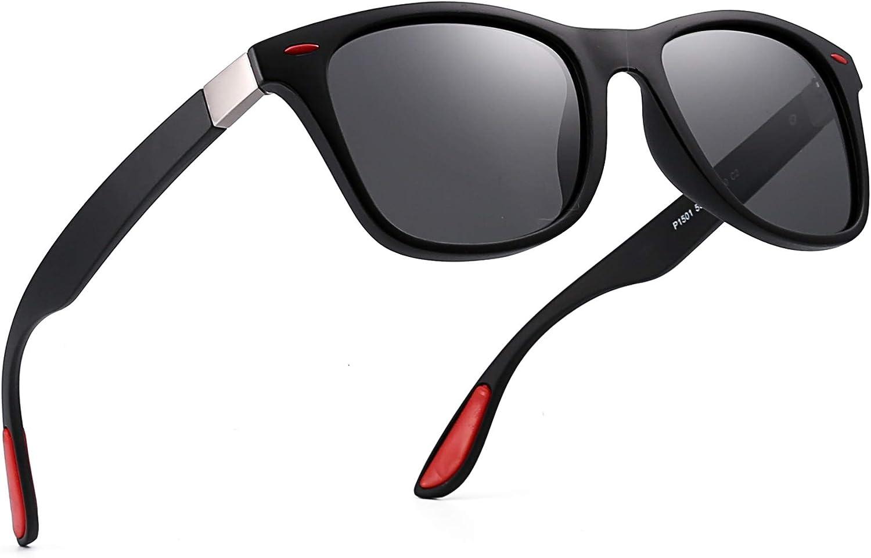 Polarizadas Gafas de Sol Vintage Cuadradas Borde Con Cuerno Conducir Anteojos Hombre Mujer(Rojo Negro/Gris Polarizado)