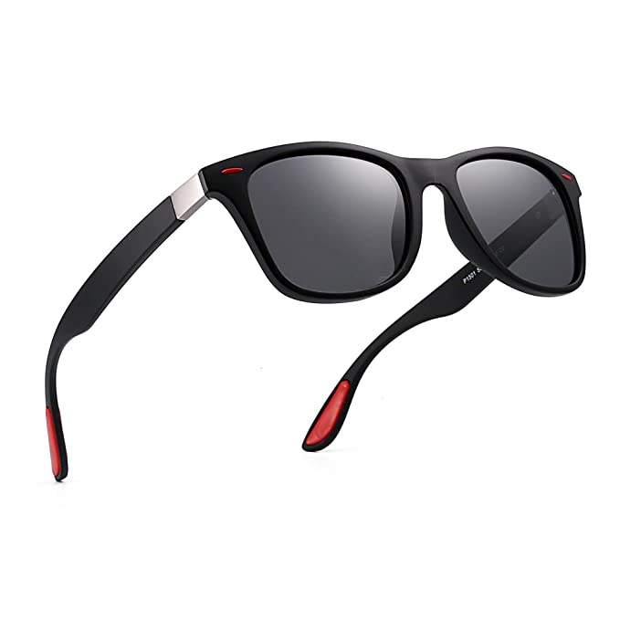 bc78aec61ebaf Polarized Sunglasses Vintage Square Horn Rimmed Driving Sun Glasses Men  Women (Black Red Polarized Grey)  Amazon.co.uk  Clothing