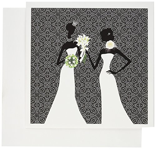 3dRose Two Brides In Wedding Gowns, Black Damask Greeting Cards, 6' x 6', Set of 12 (gc_164713_2)