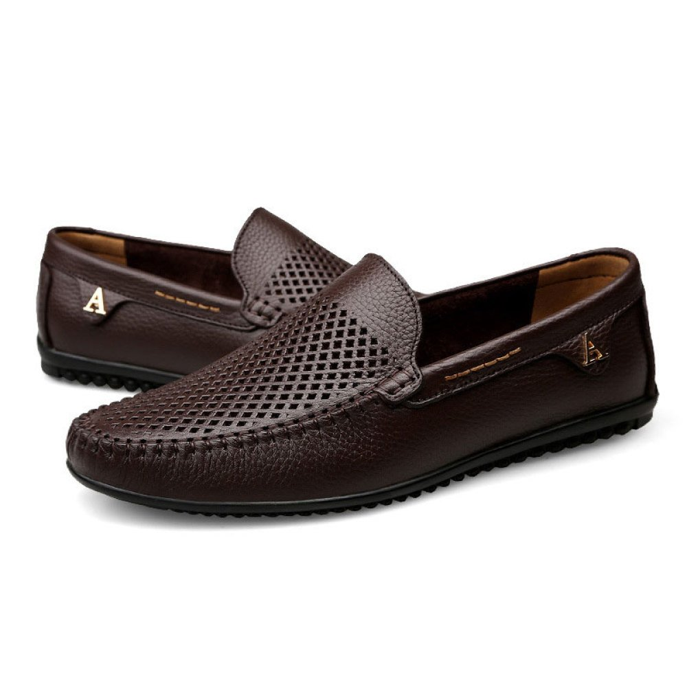Brit Casuales Estilo Cuero Zapatos Hombre De Para Guisantes qPwnxS4v