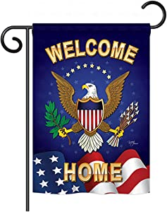 """Breeze Decor G158064 Welcome Home Americana Military Impressions Decorative Vertical Garden Flag 13"""" x 18.5"""" Printed in USA Multi-Color"""
