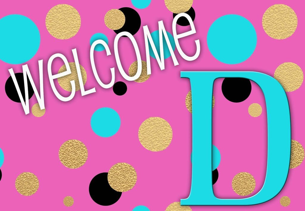 """Unique Textile Printing Pink Polka Dots - Perfect for classroom or college dorm Welcome Carpet Door Mat 18""""x26"""" Letter: D"""