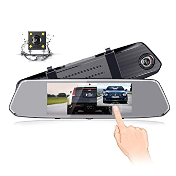 Podofo - Cámara de vigilancia para salpicadero (pantalla táctil IPS de 7 pulgadas, 1080P