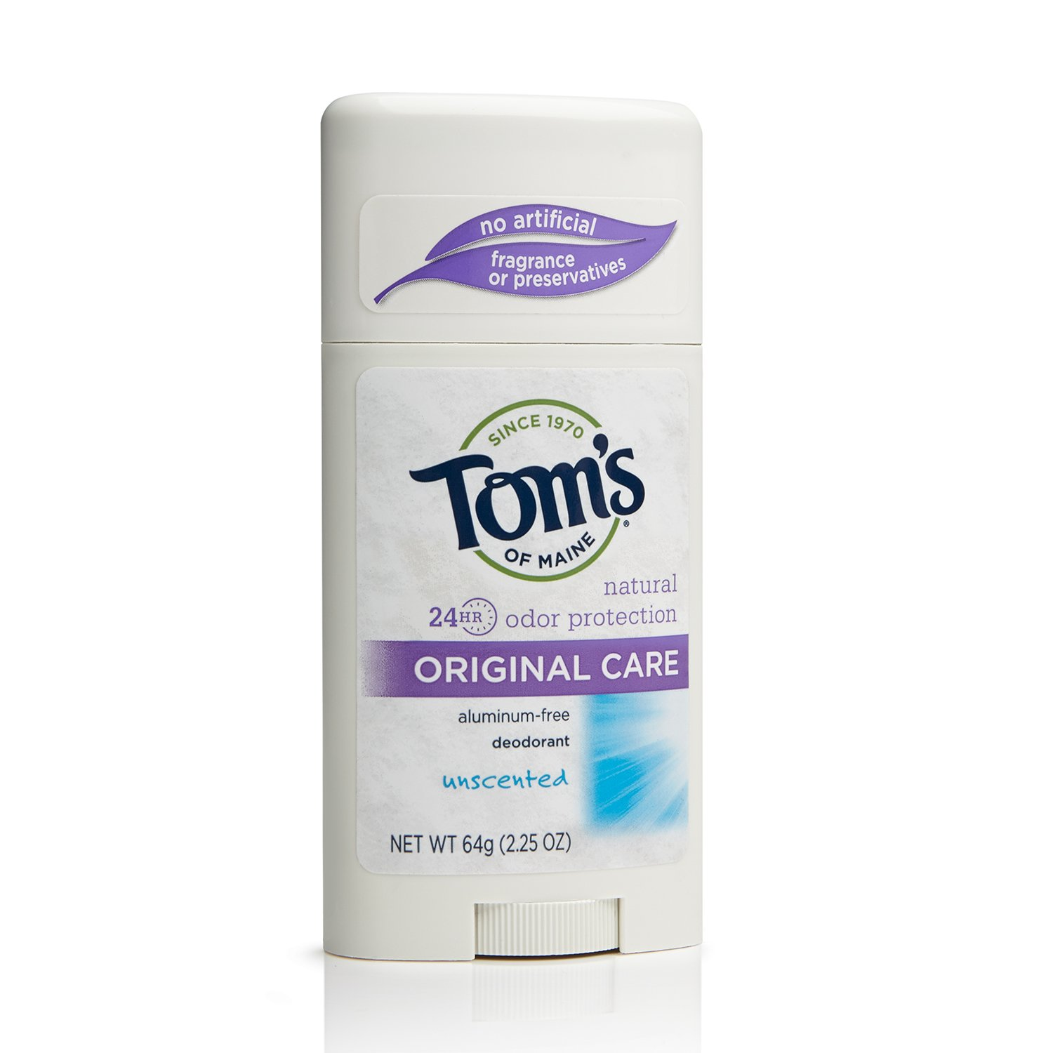 Tom's of Maine 683925 Original Care Deodorant Stick, Unscented, 2.25 Ounce, 18 Count