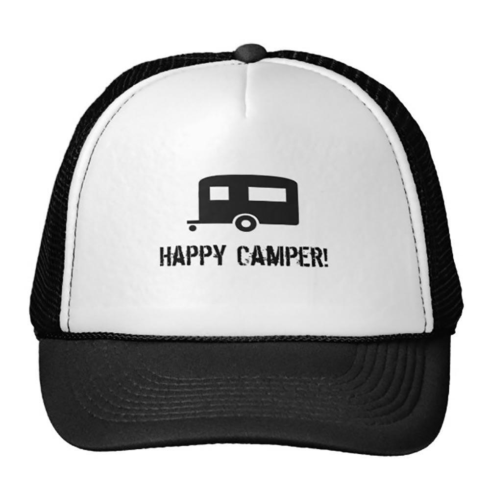 Happy Camper Trucker Hat Black