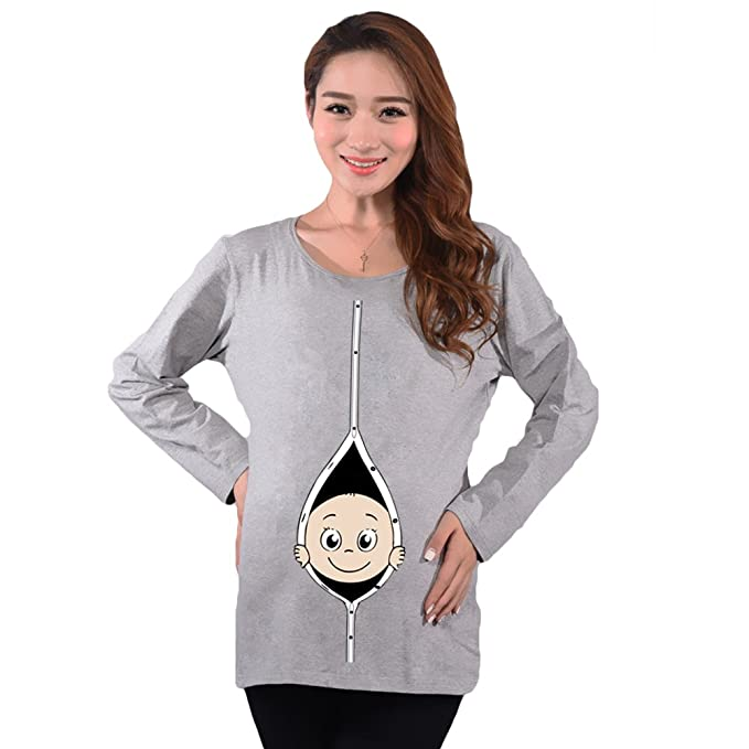 Meedot Mujeres Maternidad Tops Gracioso Camisa Pull-Over El Embarazo T Shirt Largo Manga Tops