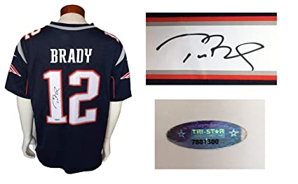 88e88e362dd Image Unavailable. Image not available for. Color  Tom Brady signed  12 Nike  On Field sewn Patriots jersey autograph Tristar COA