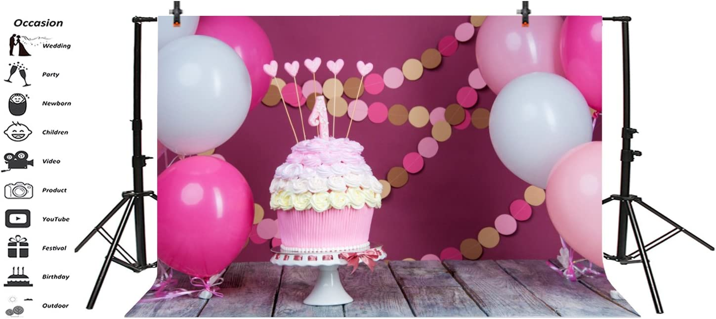 8x12 FT Kids Birthday Vinyl Photography Backdrop,Celebration Girl Themed Party Cake Candles Balloons Hearts Image Print Background for Party Home Decor Outdoorsy Theme Shoot Props
