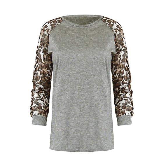Bestow Camiseta de Mujer de Moda de Gran Tama?o Tops Leopardo de Cuello Redondo Blusa de Mujer de Manga Larga Leopardo: Amazon.es: Ropa y accesorios