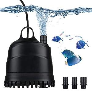 LERWAY Acuario Bomba de Agua Bomba Sumergible para Acuarios Anfibios Estanque Bomba Impermeable Silenciosa para Estanque Fuente Acuario (1800L)