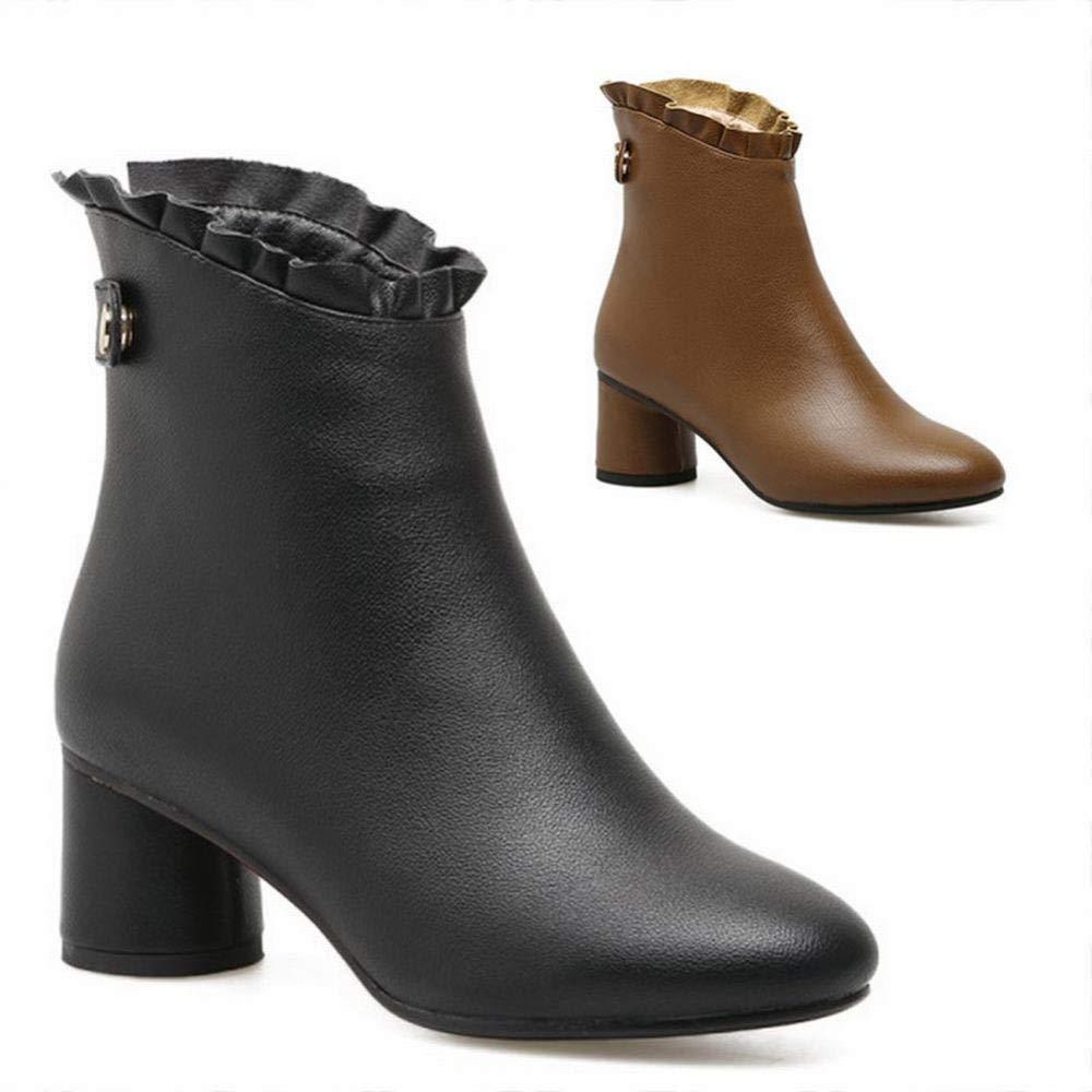 ZHRUI Scarpe da Donna - - - Moda Autunno e Inverno Spesso con Stivaletti da Donna Stivali Caldi Scarpe da Donna di Grandi Dimensioni 35-43 (colore   Nero, Dimensione   36) 5009f2
