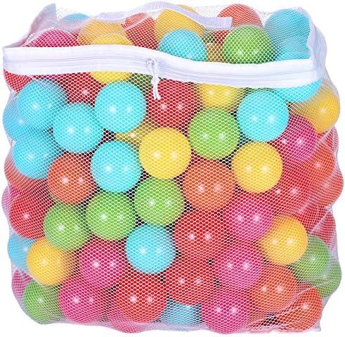 BalanceFrom 23 pulgadas sin ftalatos sin BPA no tóxicas a prueba de aplastamiento bolas de juego 6 colores brillantes en bolsa de malla de almacenamiento reutilizable y duradera con cremallera