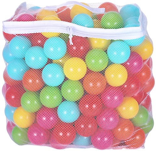BalanceFrom 2.5-Inch Phthalate Free BPA Free Non-Toxic Crush Proof Play Balls Pit Balls- 6 Bright Colors in Reusable and Durable Storage Mesh Bag with Zipper (200-Count) -