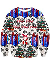 Unisex Ugly Christmas Crewneck Sweatshirt Novelty 3D Graphic Long Sleeve Sweater Shirt