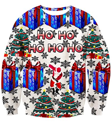 Uideazone 3D Printing Men Women Ugly Chirstmas Sweater Vacation Santa Elf Funny Sweaters Tops Autumn -