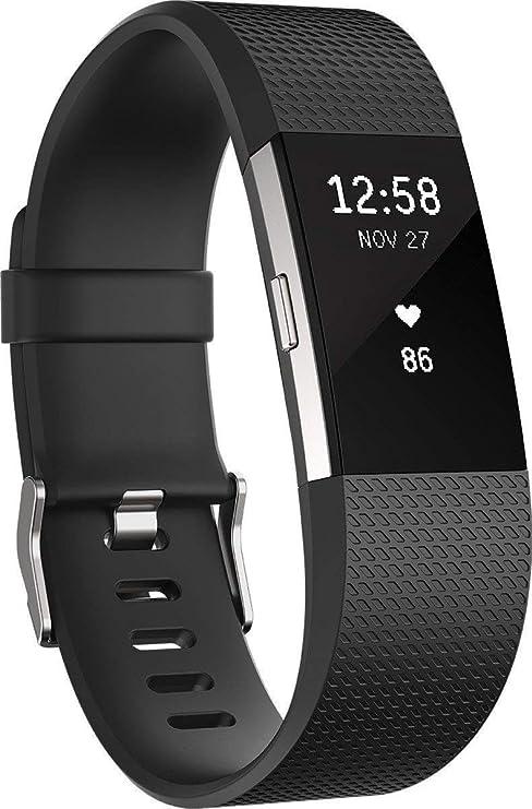TALLA L. Fitbit Charge 2 Pulsera de Actividad física y Ritmo cardiaco, Unisex, Negro, L