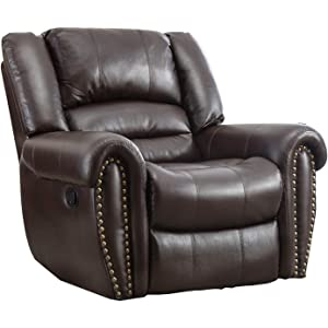 BONZY Oversized Recliner Chair Theater Leather Cover Living Room Lounge  Chair   Brown